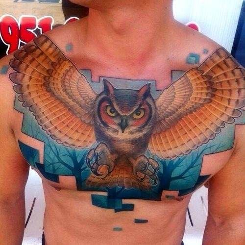 Owl chest piece ink pinterest chest piece tattoo for Nocturnal tattoo ink