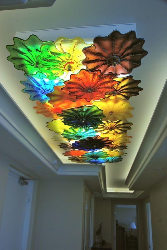 "full color entryway glass ceiling rondel art lamp. www.striniartglass.com  24"" x 86"" x 7"""