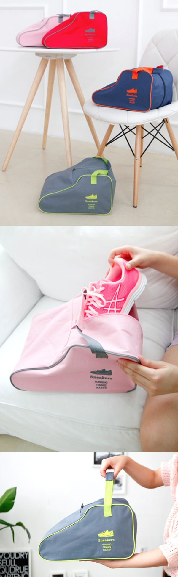 Need to carry your shoes for your next travel? Or need to organize and keep shoes that are not worn often? The Sneakers Bag definitely can help you with that! Store or Carry your shoes conveniently with the colorful and well-made Sneaker Bag!