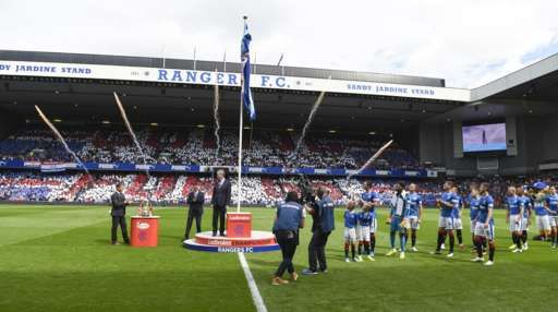 The Scottish Championship flag is unfurled at Ibrox