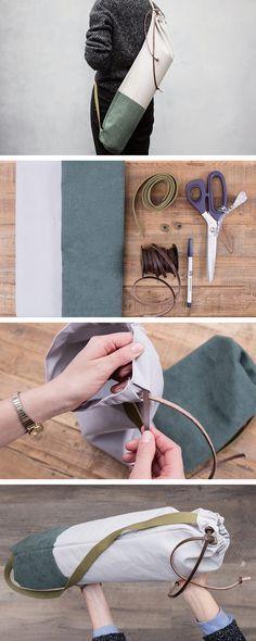 Tela e camoscio: una sacca bicolore per il tuo tappetino da #yoga - segui i passaggi http://it.dawanda.com/tutorial-fai-da-te/cucire/come-realizzare-borsa-tela-camoscio-tappetino-yoga