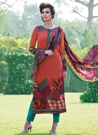 Orange N Teal Print Work Casual Wear Churidar Suit http://www.angelnx.com/Salwar-Kameez