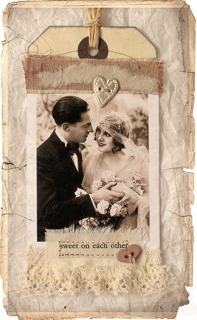 Sweet on eachother mixed media art tag by Carolyn Saxby
