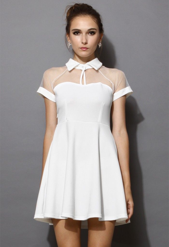 Mesh Peak Collar Skater Dress in White | Fashion ...