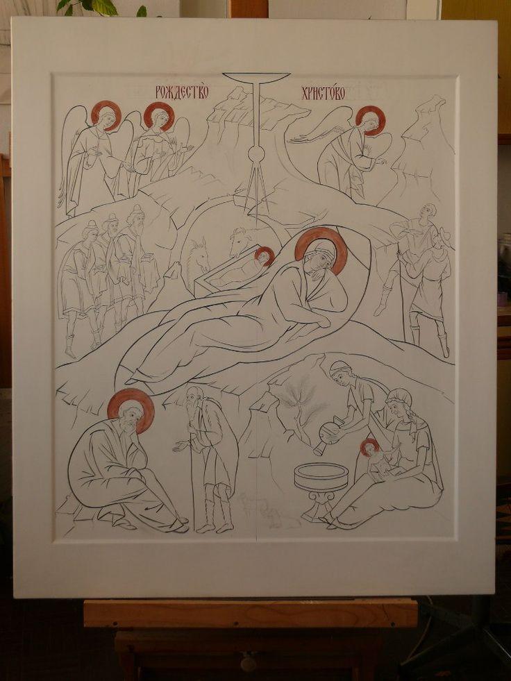 The tracing of the icons (the icon-painting studio, SVETLYE LIKI, Ukraina, Kiev)