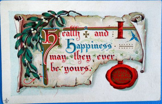 1911 Antique Post Card Embossed New Year by KingsMusicNBooks