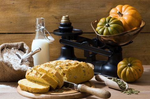 Suroviny na Halloween-sky chlieb: 500 g polohrubej múky, 1 šálku mlieka, 1 kocka droždia, 1vajíčko, 2 polievkové lyžice masla, 100 g práškového cukru,