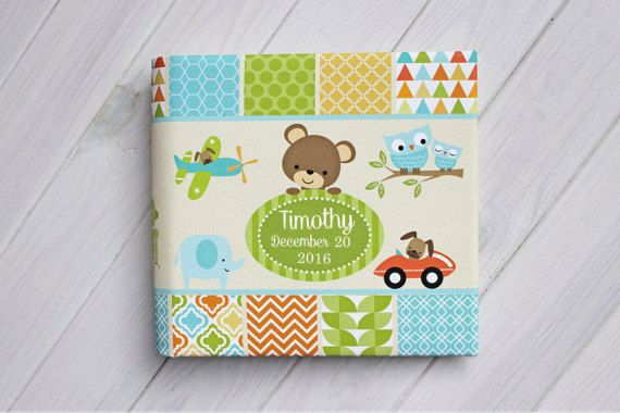 Baby boy photo album, Personalized baby album, Baby instax photo album, Woodland baby photo album, Baby shower guest book, Grandma Brag Book