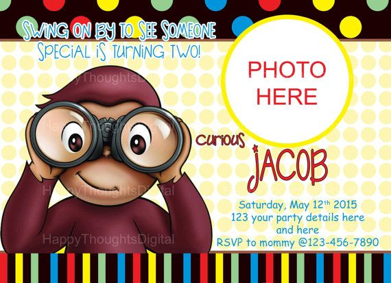 Curious George Birthday Invitation by HappyThoughtsDigital on Etsy