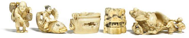 A group of five ivory netsuke Meiji era
