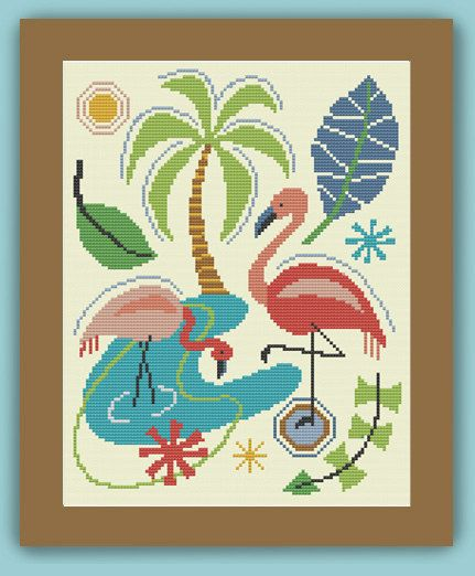 FLAMINGO MONTAGE - Modern Counted Cross Stitch Pattern - pdf instant download----------$6