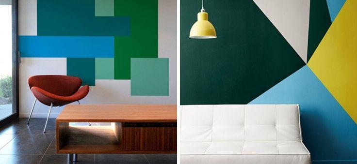 Decorar figuras geom tricas color painted wall - Imagenes de paredes pintadas ...