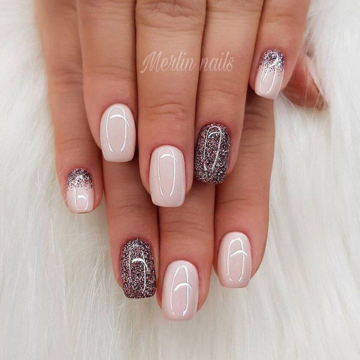 Glitter Accents # French TipNails