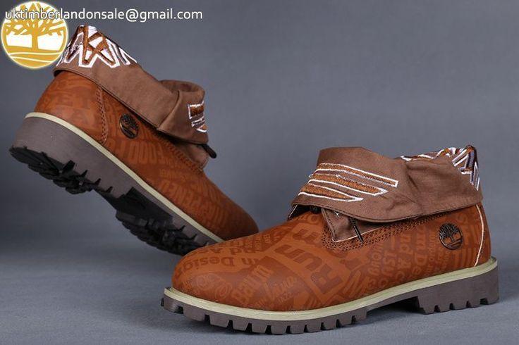 Custom Light Brown Roll Top Timberland Cheap Men Boots $95.99