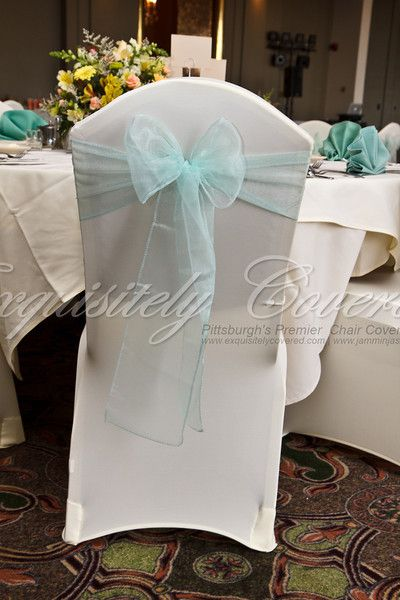 Sage green organza sash and ivory stretch chair cover at Chestnut Ridge Golf Resort.  www.exquisitelycovered.com