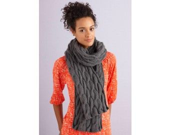 Grey Cabled Scarf