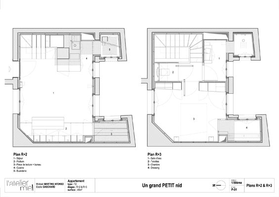 L'appartement M est un petit logement sur deux niveaux situé dans un immeuble en pierre de cœur historique de Bordeaux. Réhabilité par Elodie Gaschard de l'Atelier Miel et Mickaël Martins Afonso, ce projet s'articule autour de la dualité entre p...