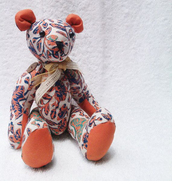 Stuffed handmade teddy bear with batik pattern by aikoscloset