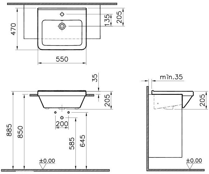 Vitra - S50 Square Semi-Recessed Basin - 1 Tap Hole - 5598 at Victorian Plumbing UK