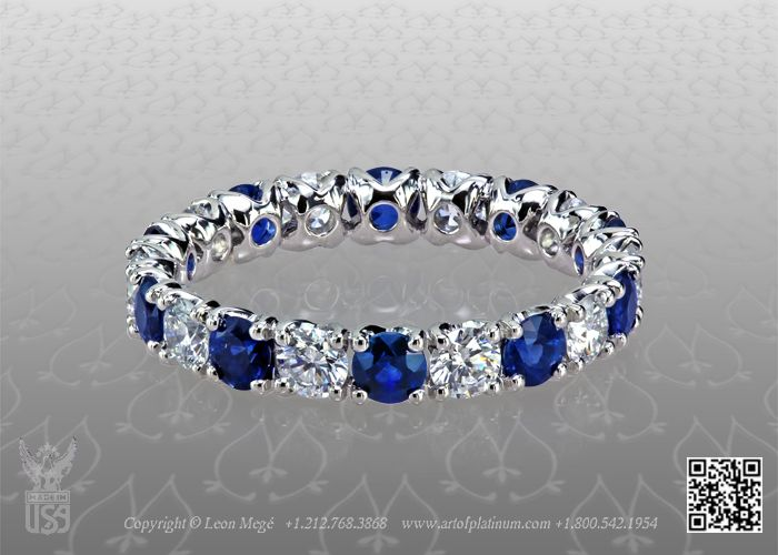 diamond and sapphire wedding band by leon mege - Sapphire Wedding Rings