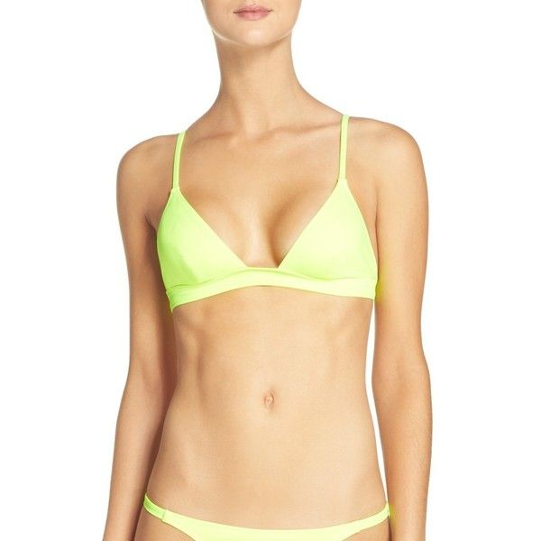 Women's Solid & Striped Morgan Triangle Bikini Top ($78) ❤ liked on Polyvore featuring swimwear, bikinis, bikini tops, yellow, triangle bikini top, yellow bikini top, triangle swimwear, plunge bikini and triangle swim top