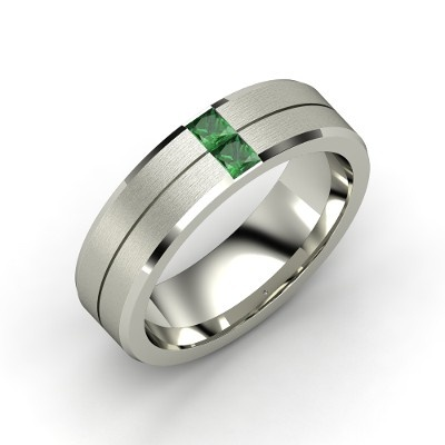 green lantern inspired mens palladium ring with emerald - Green Lantern Wedding Ring