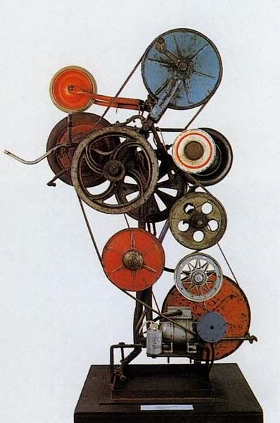 Jean Tinguely (1925 - 1991) Sculptor and also a pioneer in the field of art that engenders social engagement. His sculptures often rely on the spectator to push a button, pull a lever, or somehow cause them to start moving.