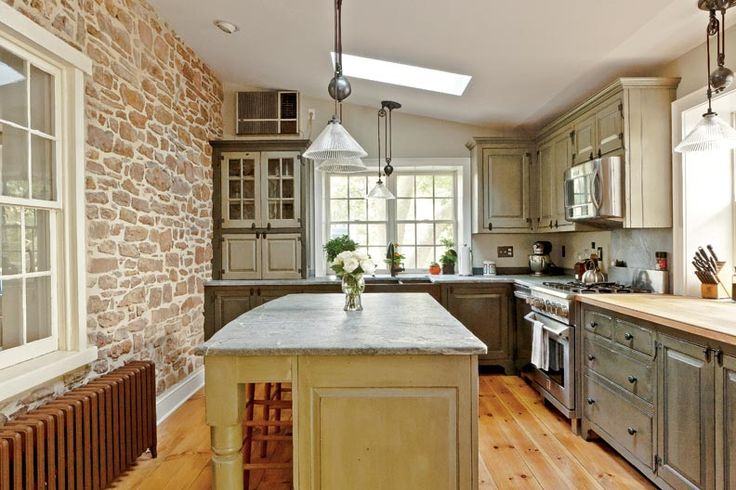 timeless kitchen design stone wall bungalow pinterest