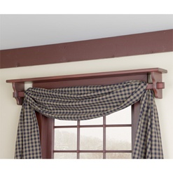 Red Window Shelf With Curtain Rod In Red Primitive