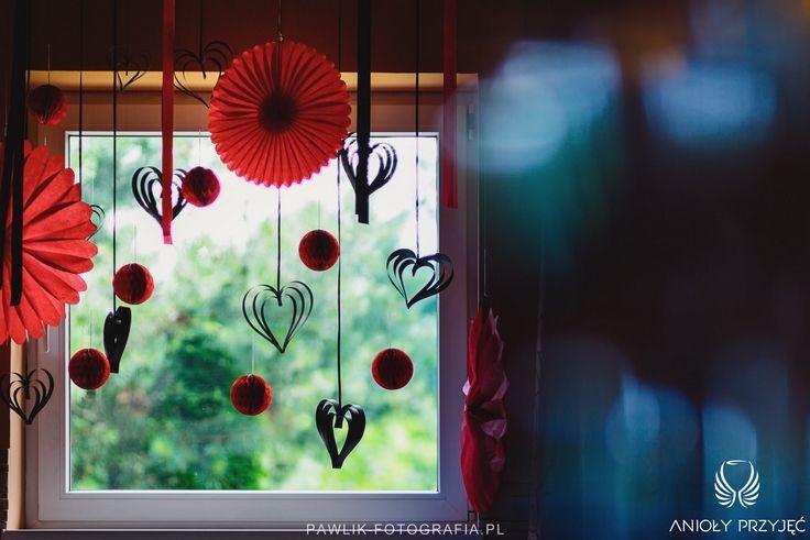 18. Rock Wedding,Black Red decor,Paper decor,Window decoration / Rockowe wesele,Czarne czerwone dekoracje,Papierowe dekoracje,Dekoracje okna,Anioły Przyjęć