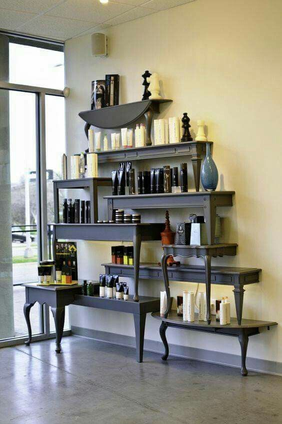 Beautiful shelves made from small tables cut in half.                                                                                                                                                                                 More
