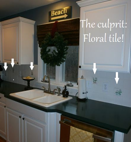 Quick fixes for ugly kitchens - painted kitchen tile backsplash via simpledwellings.blogspot.com