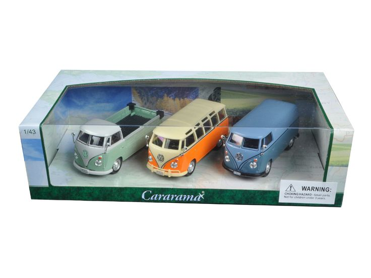 Volkswagen Buses 3pc Gift Set 1/43 Diecast Model Cars by Cararama - Brand new 1:43 scale diecast car model of Volkswagen Buses 3pc Gift Set die cast car models by Cararama. Detailed interior, exterior. Dimensions of each model is approximately L-4 inches long.-Weight: 2. Height: 6. Width: 11. Box Weight: 2. Box Width: 11. Box Height: 6. Box Depth: 6