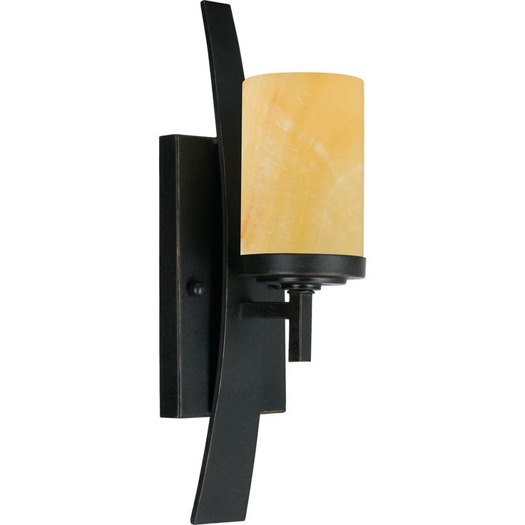 Quoizel Lighting Bronze Wall Sconce Light with Onyx Cylinder Shade and Curved Band KY8701IB