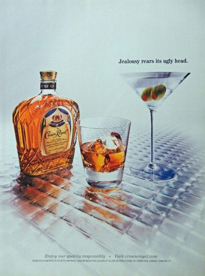 crown royal whiskey print ad full page color illustration jealousy rears its ugly head - Full Page Color