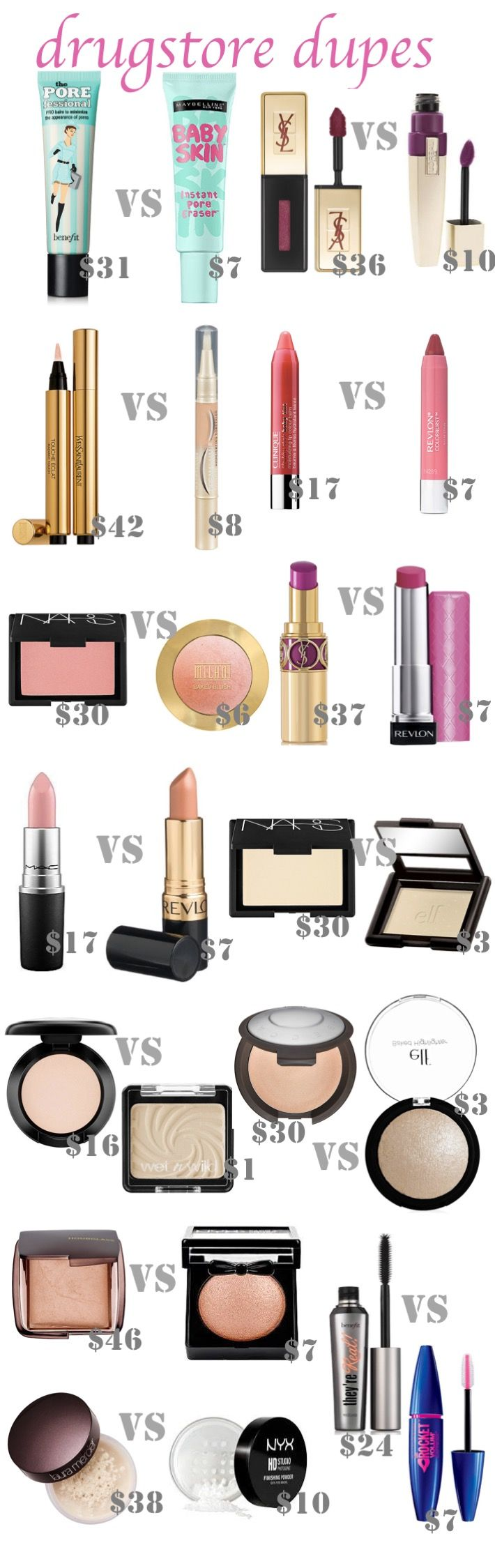 Best Drugstore Dupes - beautiful beakers-I love high end products, but I don't like the hefty price tags that accompany those products. After scouring Pinterest, I found some really great dupes for my favorite high end products. Have you tried any of these? Do you know any other great dupes? Affiliate links used in this post. beautiful beakersis a participant …