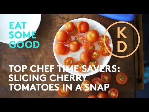 HOW TO Slice Cherry Tomatoes: Chef Rob Bragagnolo Shows Kim D'Eon A Top Chef Kitchen Time Saver - YouTube