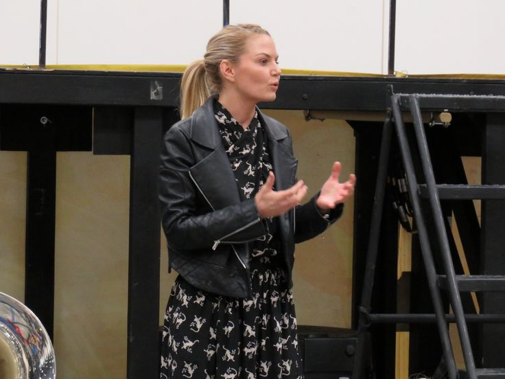 Jennifer Morrison addressing Ronald Reagan High School Band before Grand National Championship Finals performance