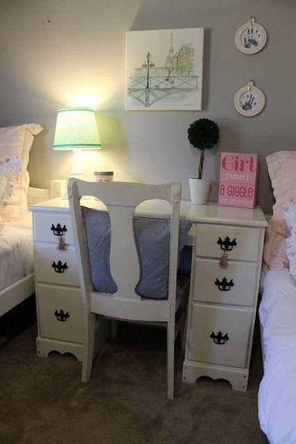 Furniture Refresh- Refinished Girls Desk in Girls room