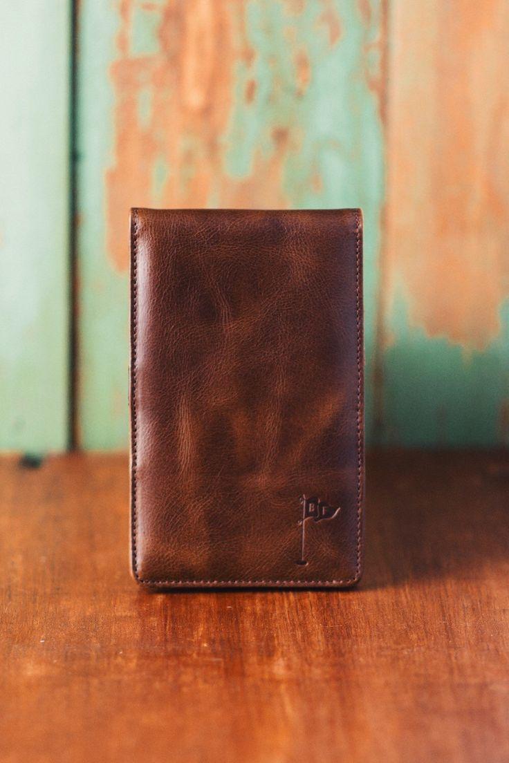 Personalized Handmade Leather Golf Scorecard Holder / Yardage Book in Vintage Bourbon golf gifts for men by BluegrassFairway on Etsy https://www.etsy.com/listing/258195642/personalized-handmade-leather-golf