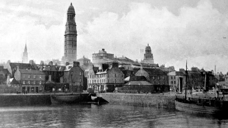 Old photograph of the harbour in Greenock, Scotland