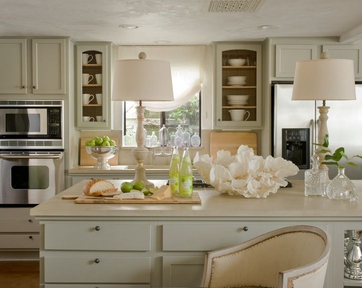 Cottage kitchen with pale gray greige kitchen cabinets for Alabaster white kitchen cabinets