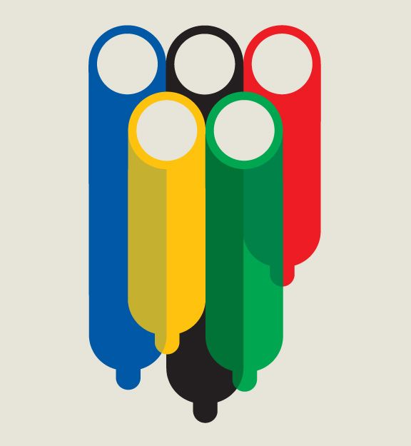 It's funny because the black one's the longest.: Nomabar, Illustration, Art, Magazines, Graphics, Olympic Rings, Olympic Village, Olympic Games, Noma Bar Espn
