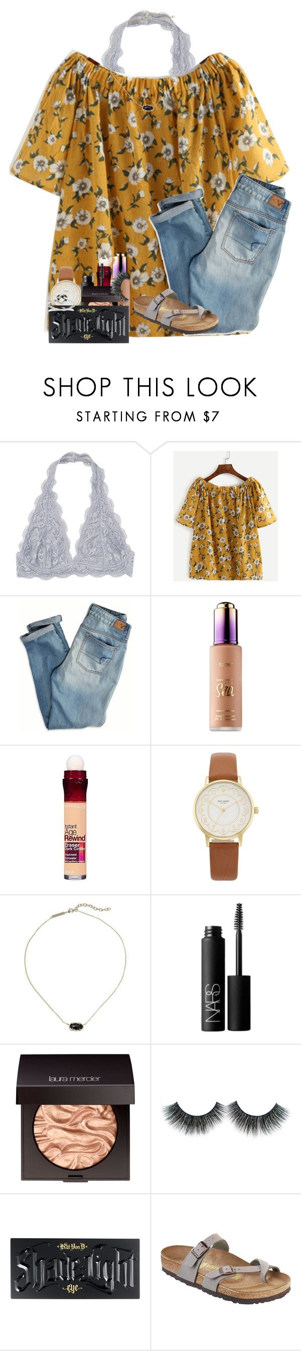 """pinterest & instagram in description"" by kyliegrace ❤ liked on Polyvore featuring American Eagle Outfitters, Maybelline, Kate Spade, Kendra Scott, NARS Cosmetics, Laura Mercier, Kat Von D and Birkenstock"