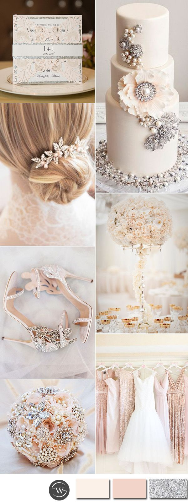 gorgeous blush pink and glitter silver glamour wedding color inspiration