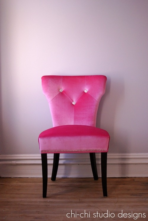 Pink chair: Girly Furniture, Decor Ideas, Fab Pink, Pink Colors, Houses Ideas, Hott Pink, Pink Chairs, Almost Houses, Add Pink