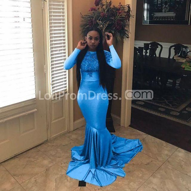 80009e8f68 49%OFF Grey Long Prom Dresses 2019 Mermaid Long Sleeves Plus Size African  Sexy – lolipromdress.com