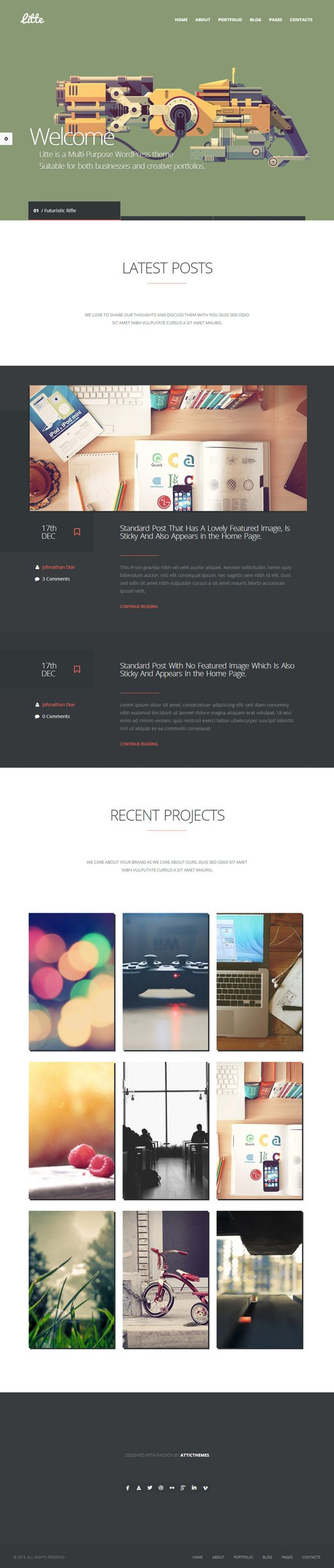 Little WordPress Theme by WordPress Design Awards, via Behance