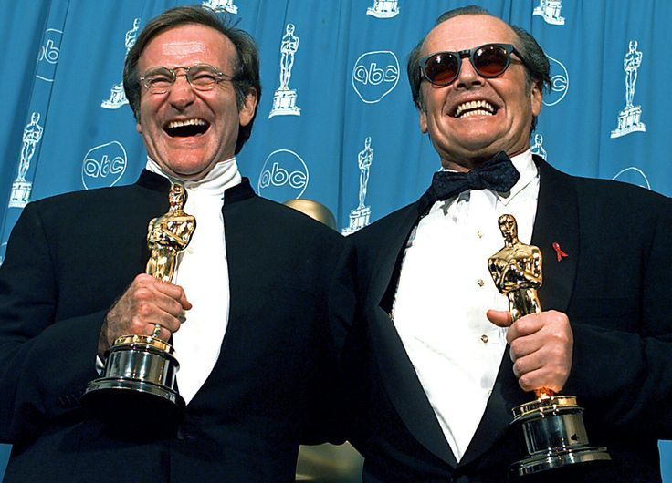 1998. Robin Williams Best Supporting Actor for Good Will Hunting and Jack Nicholson Best Actor for As Good as it Gets.