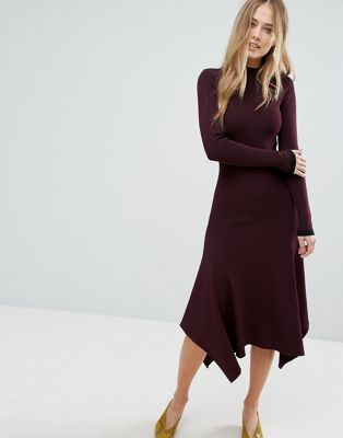 Warehouse Premium Double Collar Sweater Dress